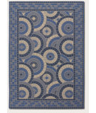 RugStudio presents Couristan 5 Seasons Sundial Cream/Blue Machine Woven, Good Quality Area Rug