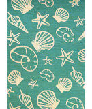 RugStudio presents Couristan Outdoor Escape Cardita Shells Turquoise/Ivory Hand-Hooked Area Rug