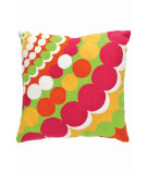 RugStudio presents Dash And Albert Bubbles Fresh American Pillow Apple/Fuchsia