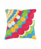 RugStudio presents Dash And Albert Bubbles Fresh American Pillow Turquoise/Fuchsia