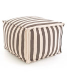 RugStudio presents Dash And Albert Trimaran Stripe Fresh American Pouf Charcoal/Ivory Flat-Woven