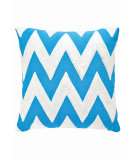 RugStudio presents Dash And Albert Chevron Fresh American Pillow Turquoise/White