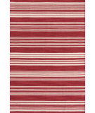 RugStudio presents Dash And Albert Cottage Stripe 105485 Crimson Woven Area Rug
