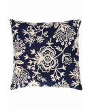 RugStudio presents Dash And Albert Flora Crewel Fresh American Pillow Navy