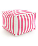 RugStudio presents Dash And Albert Trimaran Stripe Fresh American Pouf Fuchsia/White Flat-Woven