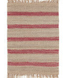 RugStudio presents Dash And Albert Jute Ticking 92369 Crimson Woven Area Rug