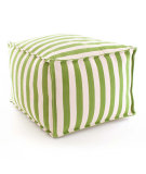 RugStudio presents Dash And Albert Trimaran Stripe Fresh American Pouf Sprout/Ivory Flat-Woven