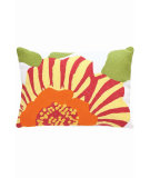 RugStudio presents Dash And Albert Stripe Flower Fresh American Pillow Fuchsia/Daffodil