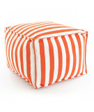 RugStudio presents Dash And Albert Trimaran Stripe Fresh American Pouf Tangerine/White Flat-Woven