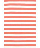 RugStudio presents Dash And Albert Trimaran Stripe 105565 Coral/White Flat-Woven Area Rug