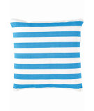 RugStudio presents Dash And Albert Trimaran Stripe Fresh American Pillow Turquoise/White Flat-Woven