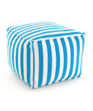 RugStudio presents Dash And Albert Trimaran Stripe Fresh American Pouf Turquoise/White Flat-Woven