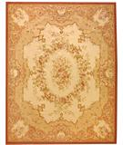 RugStudio presents Due Process Aubusson Chalon Cream-Rose Flat-Woven Area Rug