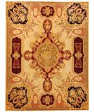 RugStudio presents Due Process Aubusson Louis XV Gold-Black Flat-Woven Area Rug