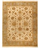 RugStudio presents Due Process Kashmir Agra Ivory-Light Blue Hand-Knotted, Best Quality Area Rug