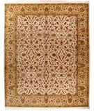 RugStudio presents Due Process Kashmir Tabriz Ivory-Gold Hand-Knotted, Best Quality Area Rug