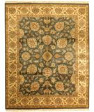 RugStudio presents Due Process Kendra Kashan Teal-Cream Hand-Knotted, Best Quality Area Rug