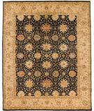 RugStudio presents Due Process Khyber Mahal Black-Cream Hand-Knotted, Best Quality Area Rug