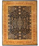 RugStudio presents Due Process Khyber Sarouk Navy-Rose Hand-Knotted, Best Quality Area Rug