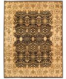 RugStudio presents Due Process Khyber Tabriz Black-Cream Hand-Knotted, Best Quality Area Rug