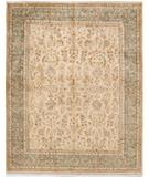 RugStudio presents Due Process Khyber Yezd Cream-Aqua Hand-Knotted, Best Quality Area Rug