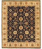 RugStudio presents Due Process Mirzapur Agra Black-Ivory Hand-Knotted, Best Quality Area Rug