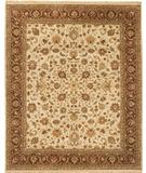 RugStudio presents Due Process Mirzapur Kashan Ivory-Brown Hand-Knotted, Best Quality Area Rug