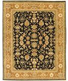 RugStudio presents Due Process Mirzapur Mahal Black-Dark Gold Hand-Knotted, Best Quality Area Rug