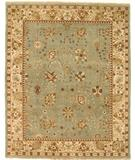 RugStudio presents Due Process Mirzapur Tabriz Turquoise-Ivory Hand-Knotted, Best Quality Area Rug