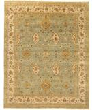 RugStudio presents Due Process Mirzapur Vase Aqua-Beige Hand-Knotted, Best Quality Area Rug
