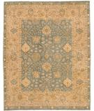RugStudio presents Due Process Peshawar Angora Light Blue-Cream Hand-Knotted, Best Quality Area Rug