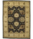 RugStudio presents Due Process Peshawar Shah Abbas Black-Cream Hand-Knotted, Best Quality Area Rug