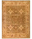 RugStudio presents Due Process Peshawar Yezd Khaki-Gold Hand-Knotted, Best Quality Area Rug