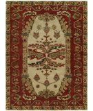 RugStudio presents Famous Maker Newsen 100067 Sand/Red Hand-Tufted, Good Quality Area Rug