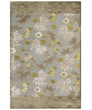 RugStudio presents Feizy Saphir Mah 3114f Pewter / Dark Green Machine Woven, Good Quality Area Rug