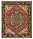 RugStudio presents Famous Maker Micha 44601 Red-Black Hand-Knotted, Best Quality Area Rug