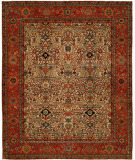 RugStudio presents Hri Antique Heriz 109 Red - Blue Hand-Knotted, Good Quality Area Rug
