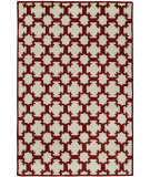RugStudio presents Hri Dimension V-1003 Ivory - Burgundy Hand-Knotted, Good Quality Area Rug