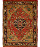 RugStudio presents Hri Antique Heriz 100-A Red - Blue Hand-Knotted, Good Quality Area Rug