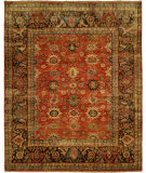 RugStudio presents Hri Mahal MJ-7 Red - Charcoal Hand-Knotted, Best Quality Area Rug
