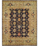 RugStudio presents Hri Mahal Mj-7 Navy Blue - Ivory Hand-Knotted, Good Quality Area Rug