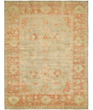 RugStudio presents Hri Ottoman 105 Lt. Blue - Rust Hand-Knotted, Good Quality Area Rug