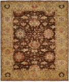 RugStudio presents Hri Peshawar P-5 Brown - Gold Hand-Knotted, Good Quality Area Rug