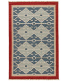 RugStudio presents Rugstudio Sample Sale 74714R Smoke Blue / Red Flat-Woven Area Rug