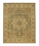 RugStudio presents Rugstudio Sample Sale 53416R Stone Blue/Soft Gold Hand-Knotted, Good Quality Area Rug