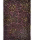 RugStudio presents Jaipur Rugs Brio Hibiscus Br18 Black Berry Hand-Hooked Area Rug