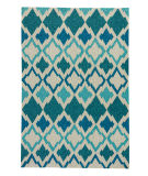 RugStudio presents Jaipur Rugs Catalina Flamestitch Cat01 Blue Hand-Hooked Area Rug