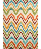 RugStudio presents Jaipur Rugs Coastal Lagoon Bahia COL18 Burnt Orange and Cyan Blue Hand-Hooked Area Rug