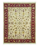 RugStudio presents Jaipur Rugs Aurora Edonia AR03 Medium Ivory/Red Hand-Knotted, Good Quality Area Rug