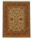 RugStudio presents Rugstudio Sample Sale 53281R Dark Ivory/Red Hand-Knotted, Good Quality Area Rug